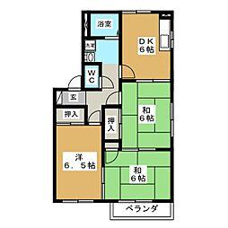 メゾンパークス A[2階]の間取り