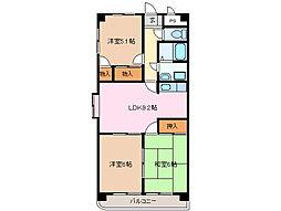 三重県四日市市西富田2丁目の賃貸マンションの間取り