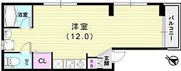 フィオーレ和田宮通 3階ワンルームの間取り