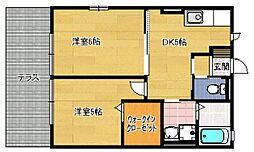 福岡県福岡市早良区有田1丁目の賃貸アパートの間取り