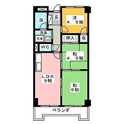 上名古屋ハイツ[4階]の間取り