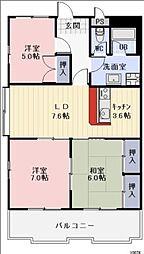 愛知県岡崎市薮田1丁目の賃貸マンションの間取り