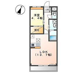 泉北高速鉄道 和泉中央駅 徒歩27分の賃貸アパート 1階1LDKの間取り