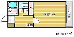 兵庫県神戸市兵庫区上沢通8丁目の賃貸アパートの間取り