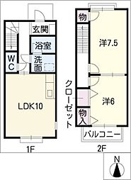 ブランシェHiroA棟[2階]の間取り