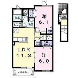 カーサ ラディーチェA[2階]の間取り