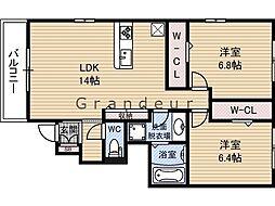 グリーンコートHIII 1階2LDKの間取り