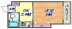 ドルフ西岡本[203号室]の間取り