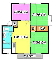 東京都東久留米市南沢3丁目の賃貸アパートの間取り