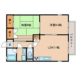 静岡県静岡市清水区有東坂2丁目の賃貸アパートの間取り