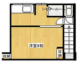 阪急神戸本線 六甲駅 徒歩7分の賃貸テラスハウス 2階1Kの間取り
