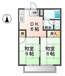 愛知県北名古屋市中之郷北の賃貸アパートの間取り