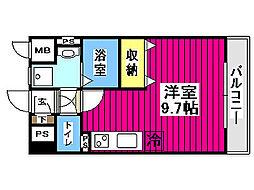 定禅寺ガーデンスクエア 8階ワンルームの間取り