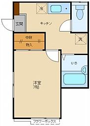 東京都調布市菊野台1の賃貸アパートの間取り