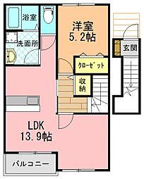 JR和歌山線 志都美駅 徒歩14分の賃貸アパート 2階1LDKの間取り