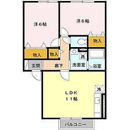 東京都日野市新町5丁目の賃貸アパートの間取り