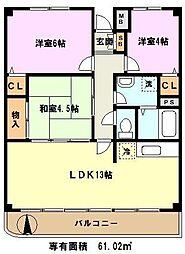 埼玉県川口市長蔵1丁目の賃貸マンションの間取り