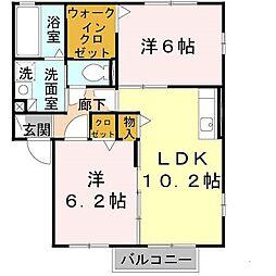大阪府堺市中区八田寺町の賃貸アパートの間取り