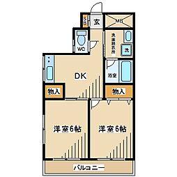 東京都府中市栄町2丁目の賃貸マンションの間取り