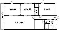 モエレマンション 2階3LDKの間取り