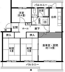 兵庫県三田市あかしあ台3丁目の賃貸マンションの間取り