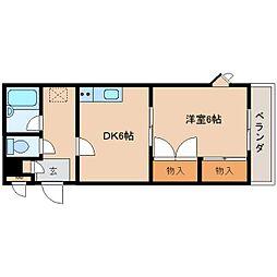 奈良県奈良市二条大路南2丁目の賃貸アパートの間取り