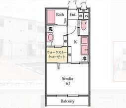 埼玉県比企郡滑川町月の輪4丁目の賃貸アパートの間取り