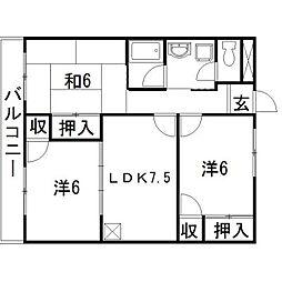 静岡県浜松市中区高丘東1丁目の賃貸アパートの間取り