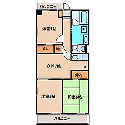 サンピア東林間[1階]の間取り