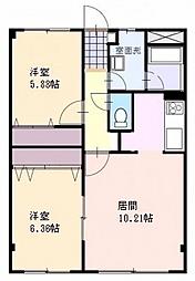 レジデンスKouei 2階2LDKの間取り