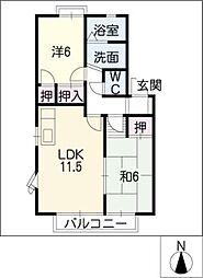 クレイドル上野A・B[2階]の間取り