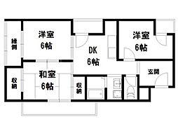 シャトーフジイ[3階]の間取り