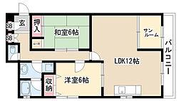 愛知県名古屋市緑区桃山1丁目の賃貸マンションの間取り