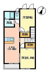 千葉県大網白里市四天木の賃貸アパートの間取り