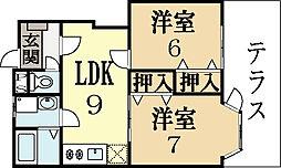 京都府城陽市水主塚ノ木の賃貸アパートの間取り