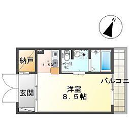 Sain-K (B) 2階ワンルームの間取り