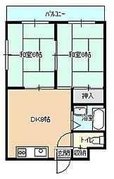 福岡県北九州市小倉北区足原1丁目の賃貸マンションの間取り