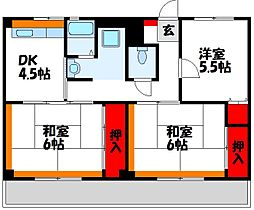 福岡県宗像市自由ヶ丘2丁目の賃貸マンションの間取り