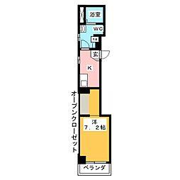 Sophis Sakurayama 6階1Kの間取り