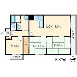 五条ローズハイツA棟[7階]の間取り
