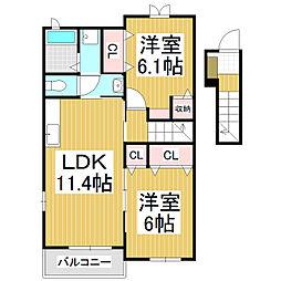 JR中央本線 上諏訪駅 バス9分 細久保下車 徒歩3分の賃貸アパート 2階2LDKの間取り