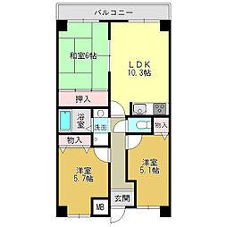 エスポワール大和高田[2階]の間取り