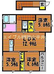 岡山県岡山市中区浜丁目なしの賃貸アパートの間取り