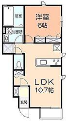 ラフレーズ湘南Bビィー 1階1LDKの間取り