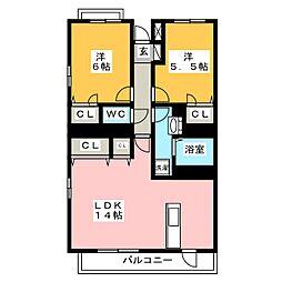グリーンヒルズEAST II[2階]の間取り