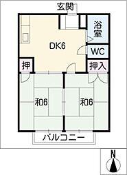 愛知県知多郡美浜町大字河和字岡ノ脇の賃貸アパートの間取り