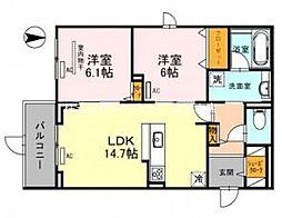 仮)D-room吹田市江の木町AY 3階2LDKの間取り