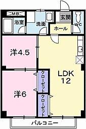 JR姫新線 本竜野駅 徒歩7分の賃貸アパート 2階2LDKの間取り