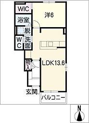 愛知県豊橋市瓜郷町八反田の賃貸アパートの間取り