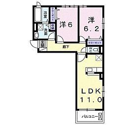 静岡県浜松市中区葵西6丁目の賃貸アパートの間取り
